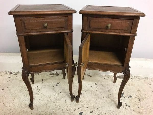 SOLD - Antique French Bedside Cabinets - co1
